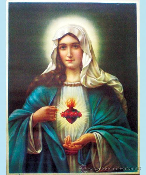 FINAL S.XIX.-GRAN LITOGRAFIA ANTIGUA A TODO COLOR EN PAPEL-TELA - EL CORAZON DE MARIA - 49 X 64 CM. (Arte - Arte Religioso - Litografías)