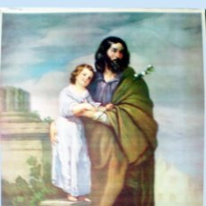 Arte: FINAL S.XIX.GRAN LITOGRAFIA ANTIGUA A TODO COLOR EN PAPEL-TELA -SAN JOSE DE MURILLO- 48,5 X 64,5 . .. Lote 51929916