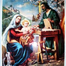Arte: FINAL S.XIX. LITOGRAFIA ESPAÑOLA ANTIGUA A TODO COLOR EN PAPEL-TELA -SAGRADA FAMILIA - 33 X 43 CM.. Lote 48504651