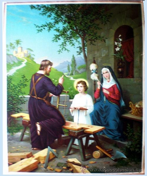FINAL S.XIX. GRAN LITOGRAFIA ANTIGUA A TODO COLOR EN PAPEL-TELA DEL-LA SAGRADA FAMILIA- 48 X 64 CM. (Arte - Arte Religioso - Litografías)