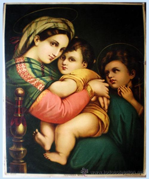 FINAL S.XIX. GRAN LITOGRAFIA ANTIGUA A TODO COLOR EN PAPEL-TELA DE - MADONNA SEDIA- 48 X 64 CM. (Arte - Arte Religioso - Litografías)