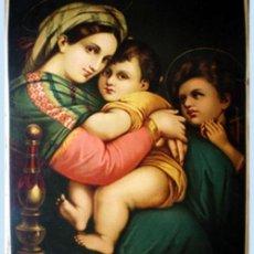 Arte: FINAL S.XIX. GRAN LITOGRAFIA ANTIGUA A TODO COLOR EN PAPEL-TELA DE - MADONNA SEDIA- 48 X 64 CM.. Lote 48526923