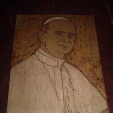 Arte: PABLO VI GRABADO SOBRE MADERA FIRMADO ANGEL GARCIA MARTIN. Lote 48596174