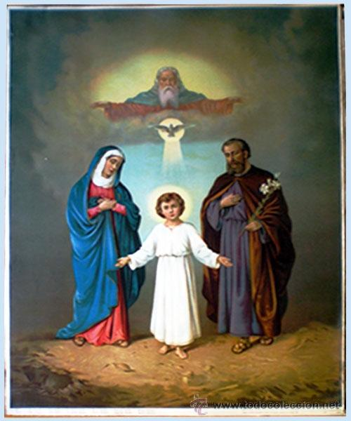 1899.-FINAL S.XIX.SUPER GRAN LITOGRAFIA ANTIGUA A COLOR EN PAPEL-TELA -SAGRADA FAMILIA- 55 X74 CM. (Arte - Arte Religioso - Litografías)