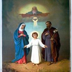 Arte: 1899.-FINAL S.XIX.SUPER GRAN LITOGRAFIA ANTIGUA A COLOR EN PAPEL-TELA -SAGRADA FAMILIA- 55 X74 CM.. Lote 53517259