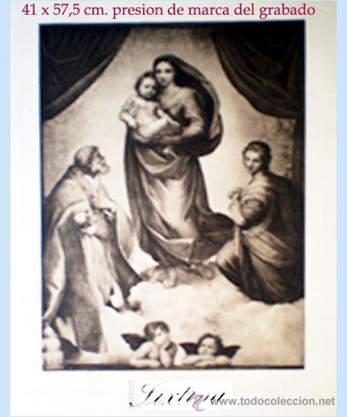 GRAN GRABADO A L A MADERA DE LA OBRA DE RAPHAEL DE LA CAPILLA - SIXTINA - RESEÑADO. (Arte - Arte Religioso - Grabados)