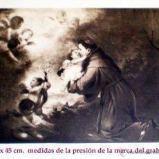 Arte: GRAN GRABADO A L A MADERA DE LA OBRA DE - SAN ANTONIO, NIÑO Y ANGELES - PLIEGO ENTERO 60 X 80 CM... Lote 48709336