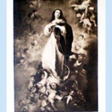 Arte: GRAN GRABADO HECHO A LA MADERA DE LA OBRA DE MURILLO - LA INMACULADA - PLIEGO ENTERO 60 X 80 CM... Lote 48712732