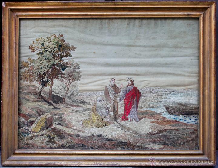 BORDADO SIGLO XIX, ENMARCADO CON CRISTAL 98X76 CM. (Arte - Arte Religioso - Pintura Religiosa - Otros)