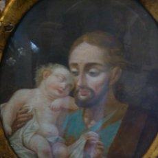 Arte: * PIEZA DEL SIGLO XVIII.OLEO DE SAN JOSE Y EL NIÑO. Lote 48833581