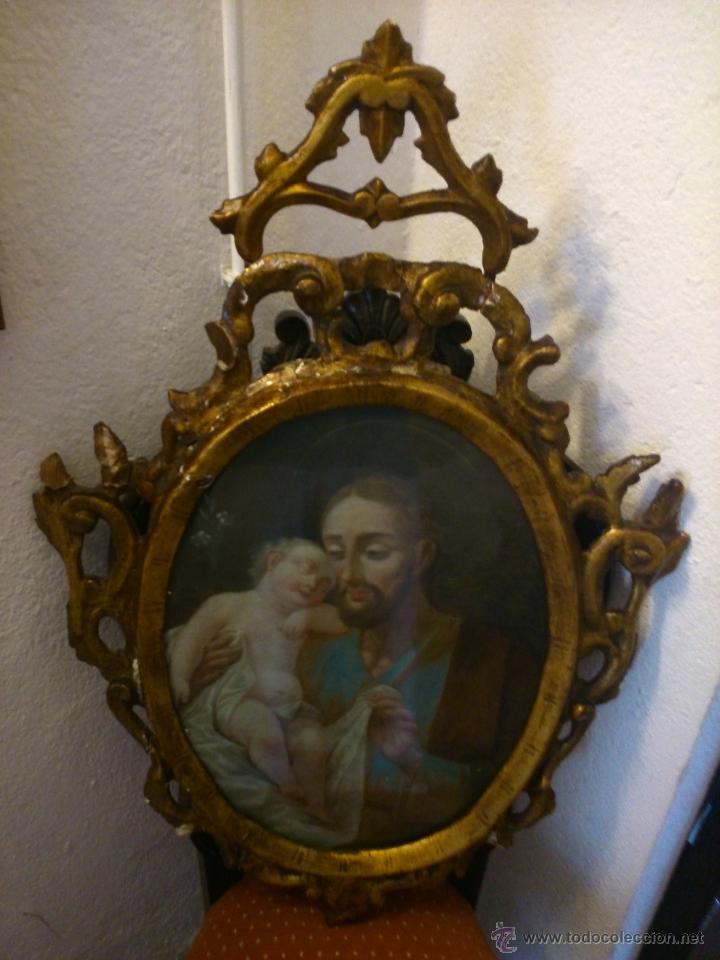 Arte: * PIEZA DEL SIGLO XVIII.OLEO DE SAN JOSE Y EL NIÑO - Foto 2 - 48833581