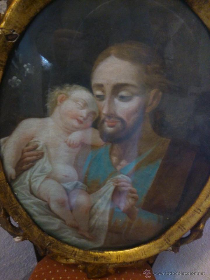 Arte: * PIEZA DEL SIGLO XVIII.OLEO DE SAN JOSE Y EL NIÑO - Foto 3 - 48833581