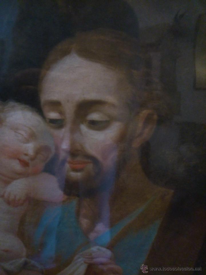 Arte: * PIEZA DEL SIGLO XVIII.OLEO DE SAN JOSE Y EL NIÑO - Foto 4 - 48833581