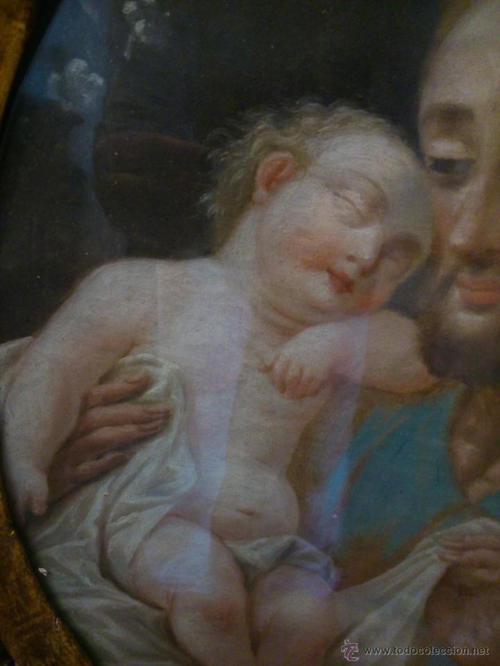 Arte: * PIEZA DEL SIGLO XVIII.OLEO DE SAN JOSE Y EL NIÑO - Foto 5 - 48833581