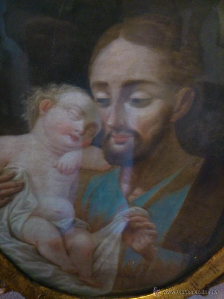 Arte: * PIEZA DEL SIGLO XVIII.OLEO DE SAN JOSE Y EL NIÑO - Foto 7 - 48833581