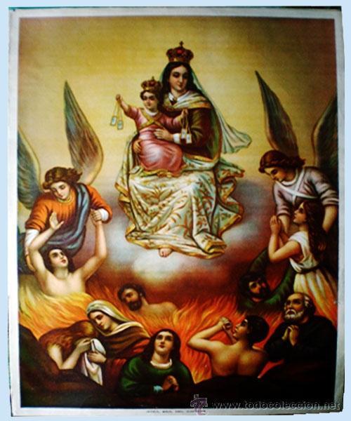 FINALES S.XIX.-SUPER GRAN LITOGRAFIA EN PAPEL FUERTE DE- NTRA. SRA..DEL CARMEN-A COLOR 54 X 41 CM. (Arte - Arte Religioso - Litografías)