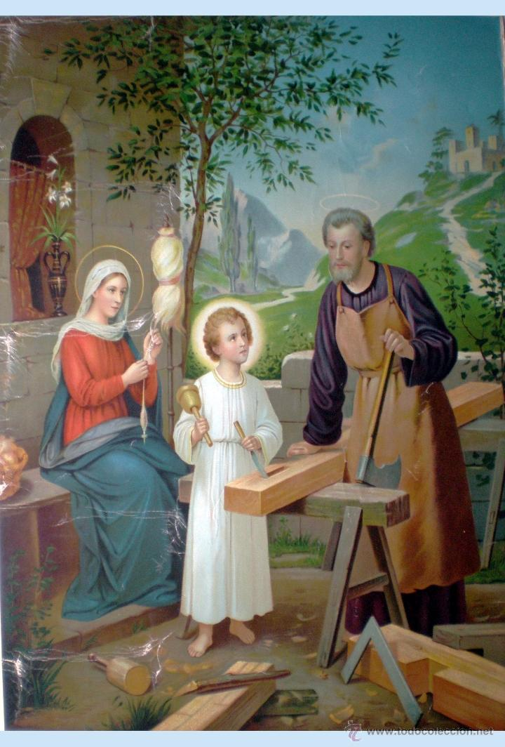 FINALES S.XIX.-1897. SUPER GRAN LITOGRAFIA EN PAPEL FUERTE DE - LA SAGRADA FAMILIA - 55 X 74,5 CM. (Arte - Arte Religioso - Litografías)