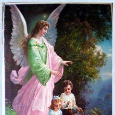Arte: FINALES S.XIX.-SUPER GRAN LITOGRAFIA EN PAPEL FUERTE DE -EL ANGEL GUARDIAN - 55 X 74,5 CM.. Lote 48876997