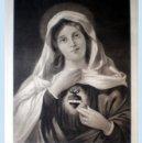 Arte: GRAN GRABADO A L A MADERA POR F. LETTAU. DE LA OBRA -SGDO. CORAZON DE MARIA- FIRMADO.. Lote 48933627