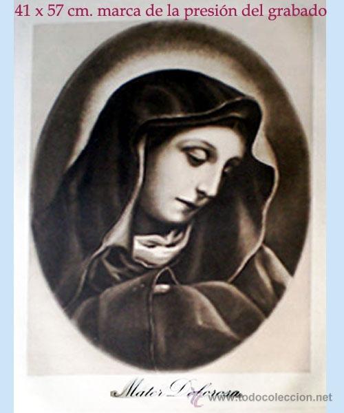 GRAN GRABADO A LA MADERA DE LA OBRA DE KARLO DOLCI - MATER DOLOROSA - PLIEGO ENTERO 60 X 80 CM.. (Arte - Arte Religioso - Grabados)
