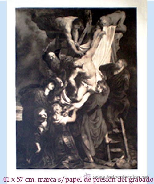 GRAN GRABADO A L A MADERA DE LA OBRA DEL - DESCENDIMIENTO DE LA CRUZ - PLIEGO ENTERO 60 X 80 CM.. (Arte - Arte Religioso - Grabados)