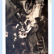 Arte: GRAN GRABADO A L A MADERA DE LA OBRA DEL - DESCENDIMIENTO DE LA CRUZ - PLIEGO ENTERO 60 X 80 CM... Lote 48934955