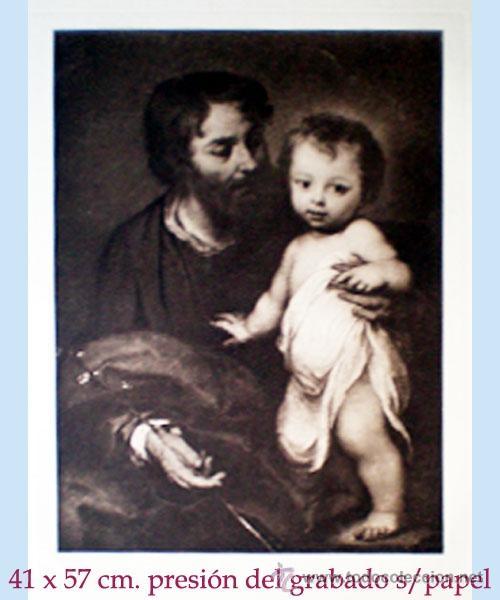 GRAN GRABADO HECHO A LA MADERA DE LA OBRA DE MURILLO - SAN JOSE Y EL NIÑO JESUS - PLIEGO 60 X 80 CM. (Arte - Arte Religioso - Grabados)