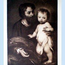 Arte: GRAN GRABADO HECHO A LA MADERA DE LA OBRA DE MURILLO - SAN JOSE Y EL NIÑO JESUS - PLIEGO 60 X 80 CM.. Lote 48935584
