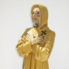 Arte: GRAN TALLA 63CM MADERA SAN FRANCISCO DE ASIS XIX OJOS CRISTAL IMAGEN RELIGIOSA SANTO OLOT. Lote 48956030