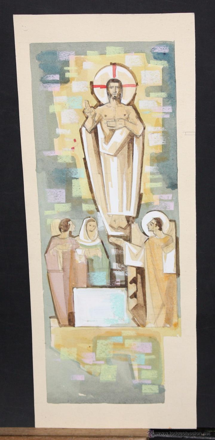 ANONIMO. TECNICA MIXTA SOBRE CARTULINA. TEMA RELIGIOSO (Arte - Arte Religioso - Pintura Religiosa - Otros)