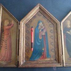 Arte: PRECIOSO Y ANTIGUO TRIPTICO CON MOTIVOS RELIGIOSOS EN MADERA. Lote 49006515