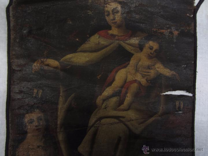 Arte: Pintura al óleo Virgen del Carmen siglo XVIII - Foto 4 - 49014787