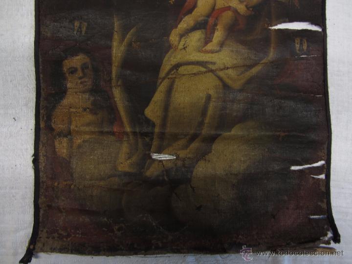 Arte: Pintura al óleo Virgen del Carmen siglo XVIII - Foto 5 - 49014787