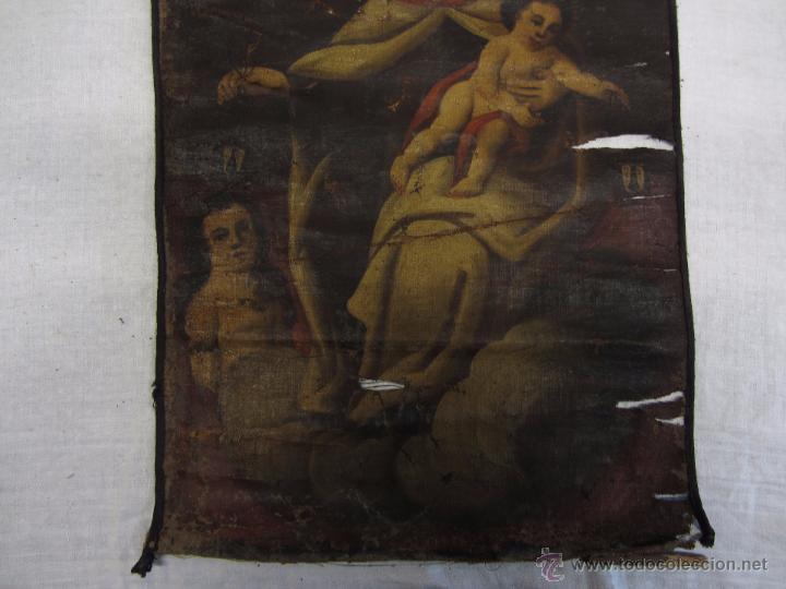 Arte: Pintura al óleo Virgen del Carmen siglo XVIII - Foto 6 - 49014787