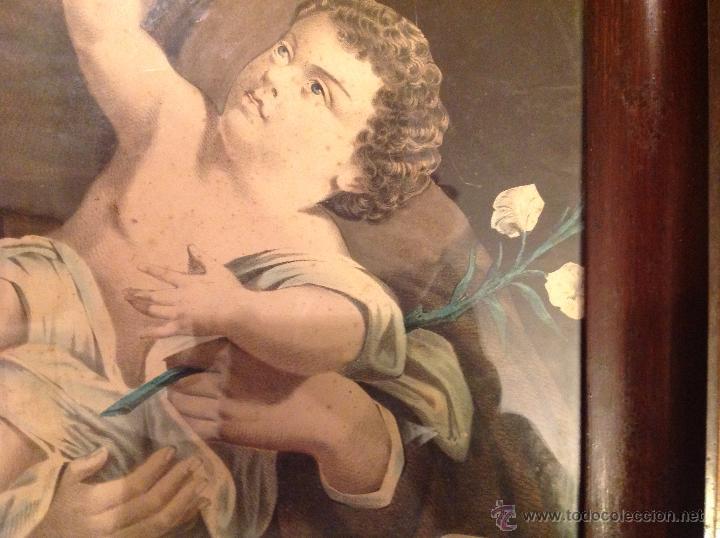 Arte: ANTIGUA LAMINA RELIGIOSA CON MARCO - Foto 7 - 49075253