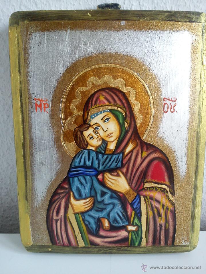 PRECIOSO IKONE ROMANO HECO DE MADERA PINTADO A MANO,ARTIZANAT OPAIT SRL,SF.GHEORGHE ROMANIA (Arte - Arte Religioso - Iconos)