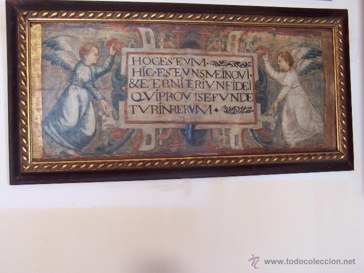 TABLA BARROCA CON MARCO. DIMENSIONES CON MARCO: 87 CM POR 43 CM. DIMENSIONES SIN MARCO: 77 CM POR 33 (Arte - Arte Religioso - Pintura Religiosa - Oleo)