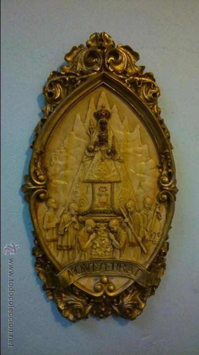 Arte: Antiguo cuadro / figura de la virgen de Montserrat, de escayola / De los años 20-30 - Foto 2 - 49164203