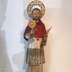 Arte: SAN RAMON NONATO EN TALLA DE MADERA Y URNA. SIGLO XIX.. Lote 49178383