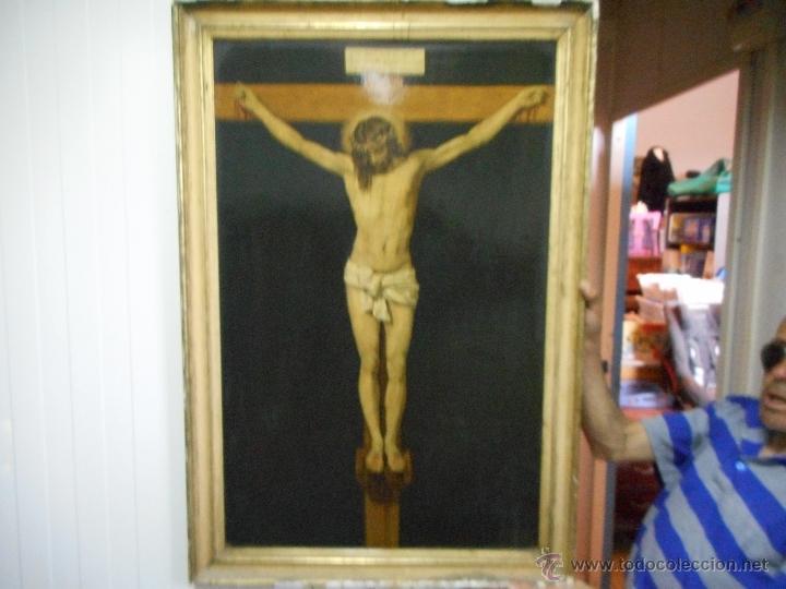 GRAN COPIA O LITOGRAFIA CRISTO CRUCIFICADO DE VELAZQUEZ SUPONGO SIGLO XIX FIRMADO (Arte - Arte Religioso - Pintura Religiosa - Otros)