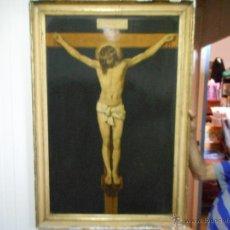 Arte: GRAN COPIA O LITOGRAFIA CRISTO CRUCIFICADO DE VELAZQUEZ SUPONGO SIGLO XIX FIRMADO. Lote 49326624