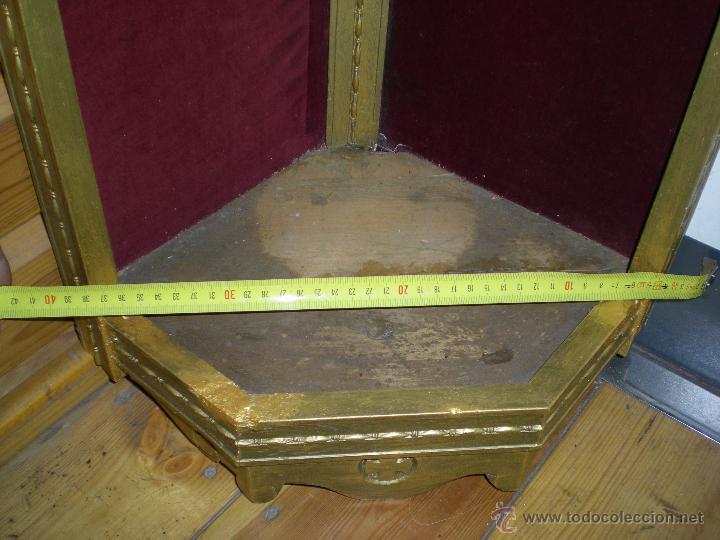 Arte: preciosa capilla antigua de madera tejido pasamanería metálica oro con iluminación siglo XVIII. - Foto 4 - 49418467