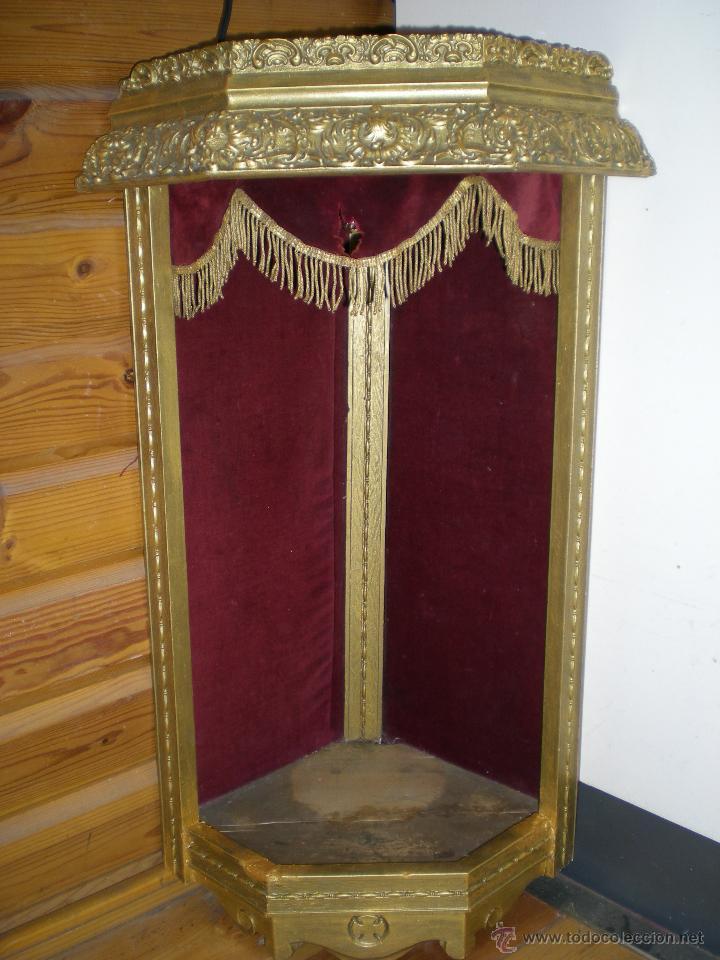 Arte: preciosa capilla antigua de madera tejido pasamanería metálica oro con iluminación siglo XVIII. - Foto 13 - 49418467