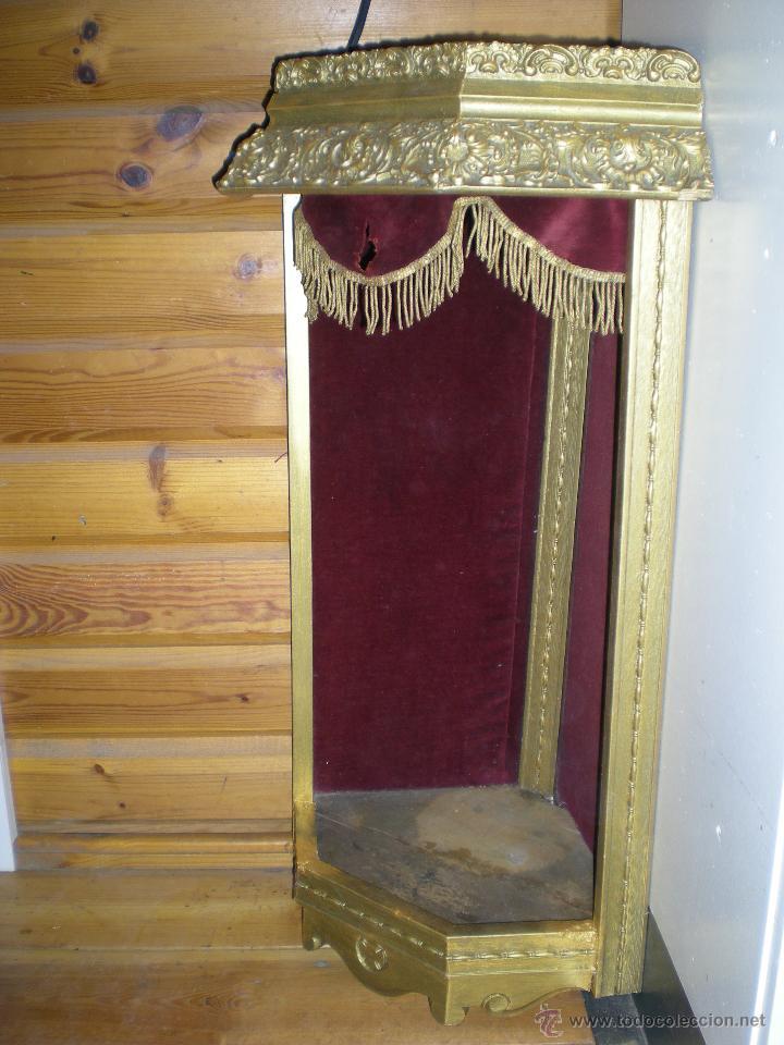 Arte: preciosa capilla antigua de madera tejido pasamanería metálica oro con iluminación siglo XVIII. - Foto 15 - 49418467