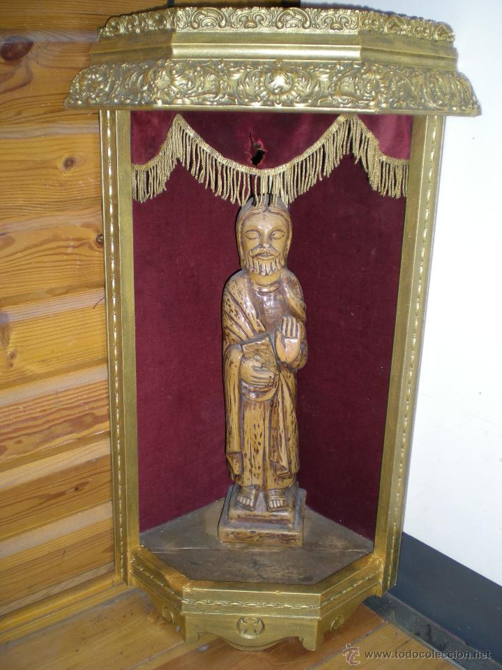 Arte: preciosa capilla antigua de madera tejido pasamanería metálica oro con iluminación siglo XVIII. - Foto 19 - 49418467