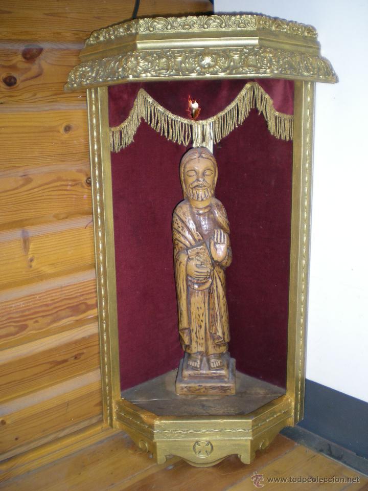 Arte: preciosa capilla antigua de madera tejido pasamanería metálica oro con iluminación siglo XVIII. - Foto 20 - 49418467