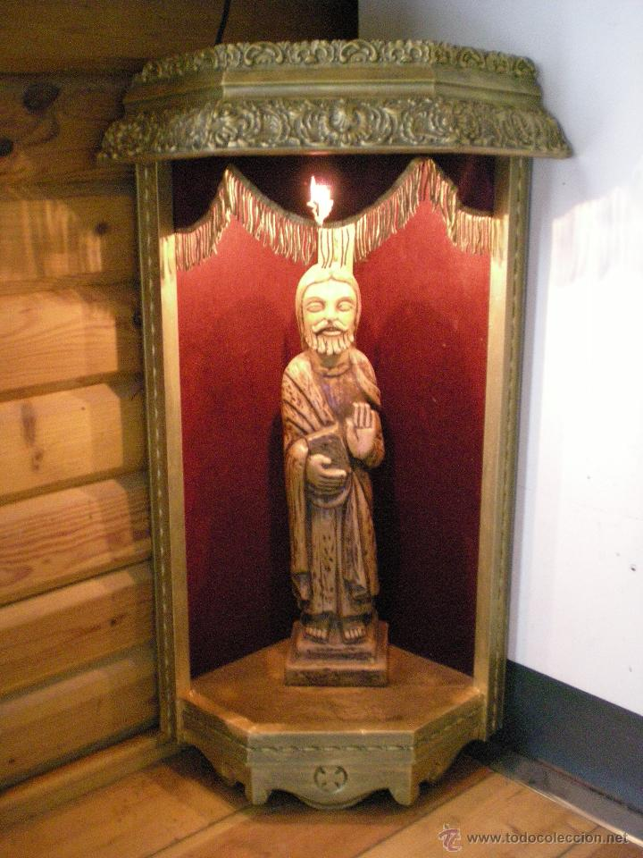 Arte: preciosa capilla antigua de madera tejido pasamanería metálica oro con iluminación siglo XVIII. - Foto 21 - 49418467