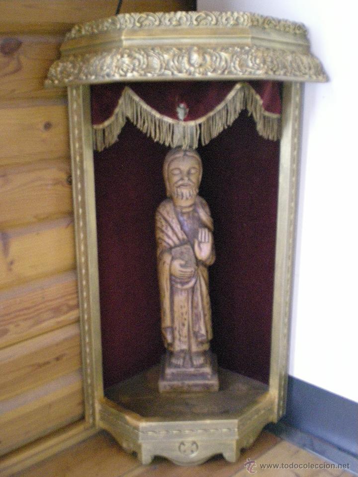 Arte: preciosa capilla antigua de madera tejido pasamanería metálica oro con iluminación siglo XVIII. - Foto 25 - 49418467
