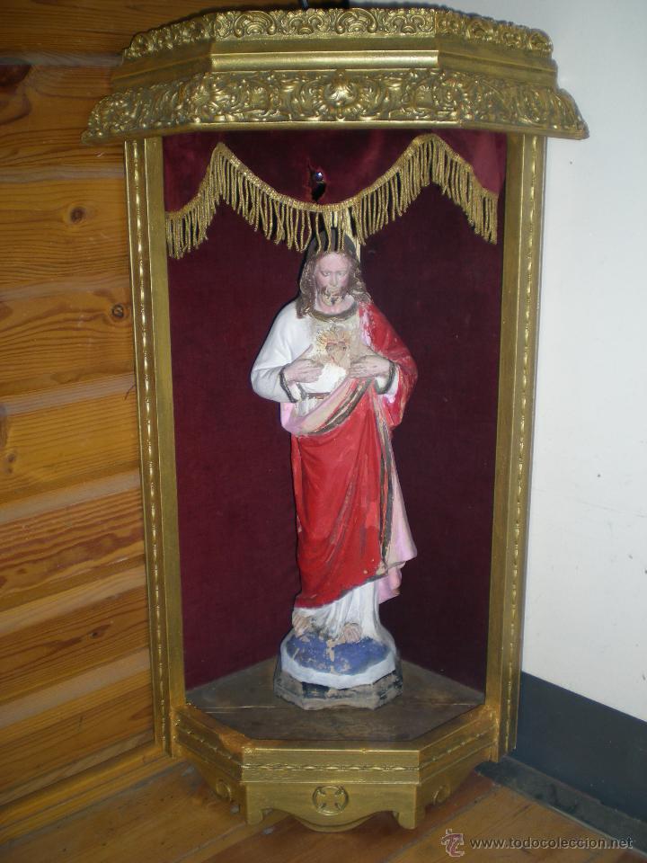 Arte: preciosa capilla antigua de madera tejido pasamanería metálica oro con iluminación siglo XVIII. - Foto 26 - 49418467