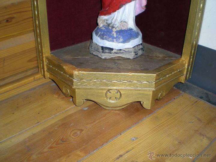 Arte: preciosa capilla antigua de madera tejido pasamanería metálica oro con iluminación siglo XVIII. - Foto 27 - 49418467